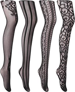 Cherrydew Womens Sexy Fishnet Tights Suspender Pantyhose Thigh-High Garter Stockings Black Pattern 4 Pairs
