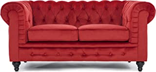 Classic Scroll Arm Chesterfield Style Loveseat with Tufted (Red)