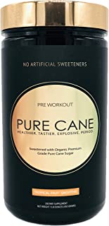 Pure Cane Natural Pre Workout - No Artificial Sweeteners, Explosive Energy, Great Taste, Creatine for Strength Gains & Nitric Oxide Boosters for Insane Pumps - Tropical Fruit Smoothie