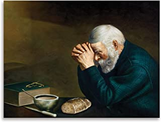 Daily Bread Man Praying At Dinner Table Grace; Religious Décor; One 16x12in Poster Print