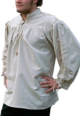 Camisa de la Edad media, en los brazos del paquete, natural de algodón/lino - de la Edad media, Medieval, vikingo, Carnaval de piratas