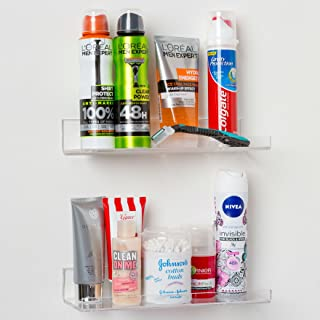 'Invisible' Bathroom Shelf Wall Mounted [2 Pack] 10 inch Clear Acrylic Shelves by Pretty Display. Extra Strong & Easy to Wall Mount