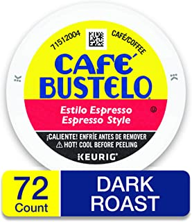 Café Bustelo Espresso Style K Cup Pods for Keurig Brewers, Dark Roast Coffee, 12Count (Pack of 6)