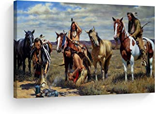 SmileArtDesign Indian Wall Art Native Americans Trace Canvas Print Home Decor Decorative Artwork Gallery Wrapped Wood Stretched and Ready to Hang -%100 Handmade in The USA - 8x12