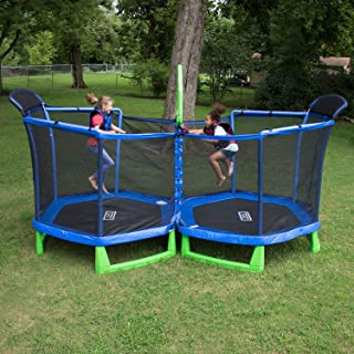 SportsPower My First Trampoline with Enclosure Double 7-Foot Kids Circle Trampoline with...