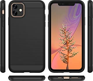 2019 New iPhone 11(6.1 inch Screen) Case Shell Stylish Dual Layer Hard PC Back Full Body Protective Shockproof Slim Wireless Charging Support Case for iPhone 11 (Black, 6.1)