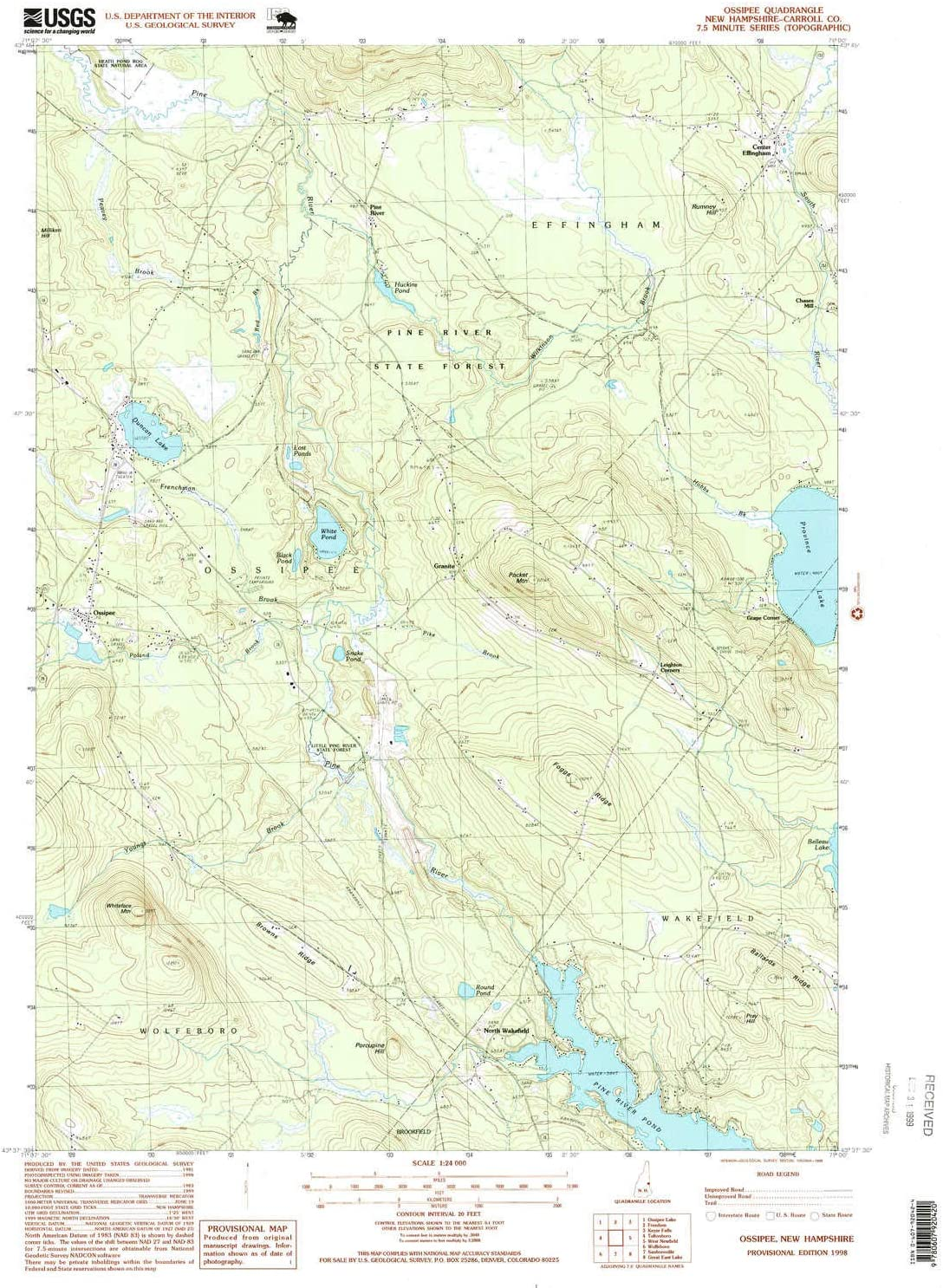 YellowMaps 大注目 Ossipee NH topo map 7.5 Scale Minute 1:24000 迅速な対応で商品をお届け致します X