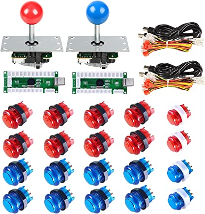 Gamelec 2-Players Arcade Buttons and Joystick Kit for Raspberry Pi with  Retro Pie System and PC Video Games, Zero Delay USB Encoder and LED