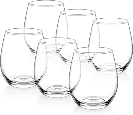 [Set of 6] Zuzoro Stemless Wine Glasses - 15oz - Decorative Long-lasting & Durable Wine Glass Set - For White or Red Wine - Great Holiday Gift for Wine Lovers