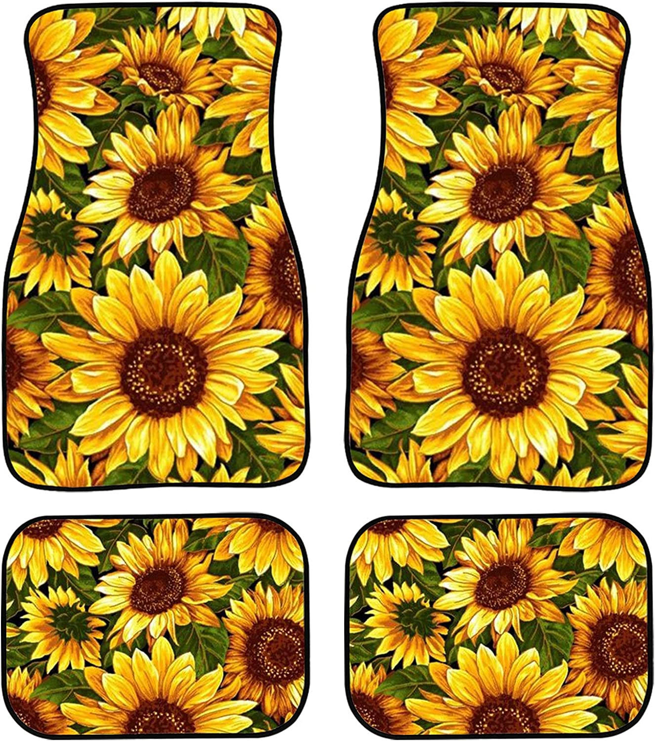 KUILIUPET Excellence Car Floor Mats Max 44% OFF Sunflowers for 4pcs Printed Auto