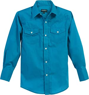 Gioberti Boys Casual Western Solid Long Sleeve Shirt with Pearl Snaps