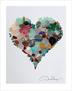 LOVE. Sea Glass Heart Poster Print From The Heart Collection, 11x14 Inches, Unique Gift For Framing