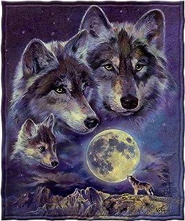 "Dawhud Direct Wolf Moon Call Super Soft Full/Queen Size Plush Fleece Blanket, 75"" x 90"""