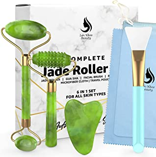 Gua Sha Jade Roller Face Roller - Stone Guasha 6 in 1 Face Massager Set for Face, Jade Facial Roller   Silicone Makeup Brush Eye Roller Massager   For Face Made From Real Jade   Ice Massager, Eye Puffiness Relief With Travel Pouch, Qua Sha, Rodillo de Jade