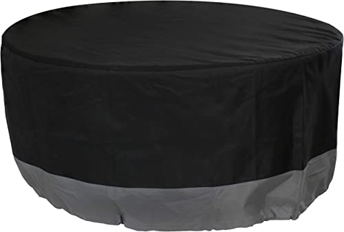 wholesale Sunnydaze Round 2-Tone Outdoor Fire Pit Cover - Gray/Black online sale - Heavy Duty 300D Polyester Exterior Circular Winter Cover for Fire Pit - Waterproof and UV-Resistant - 48-Inch x discount 18-Inch online sale