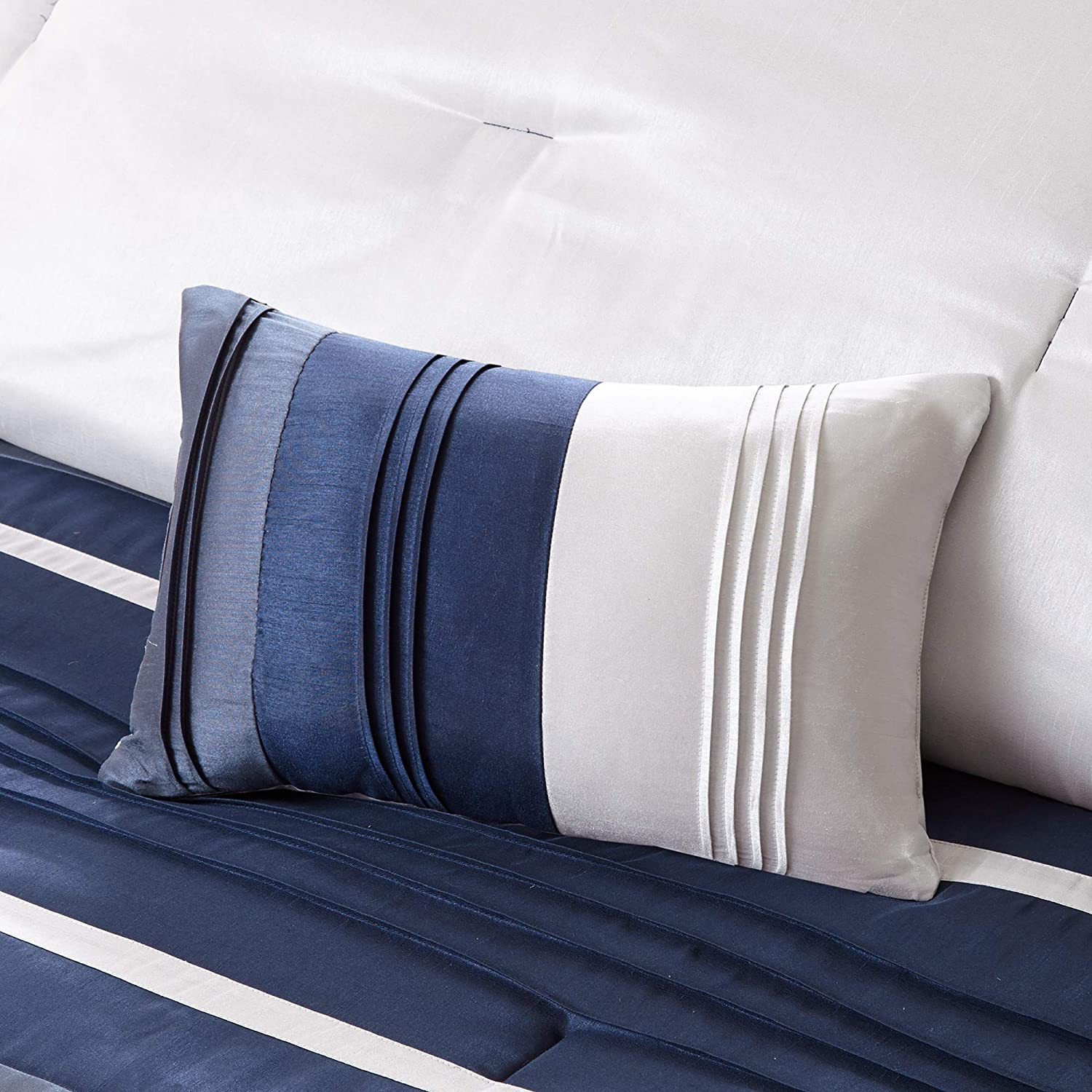 Navy Stripe Faux Silk Bedroom Comforters 7 Pieces Bedding Sets Madison Park Blaire King Size Bed Comforter Set Bed in A Bag