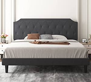 Allewie King Bed Frame with Diamond Button Tufted Headboard, Upholstered Platform Bed with Sturdy Wood Slat Support, No Box Spring Needed, Easy Assembly, Dark Grey