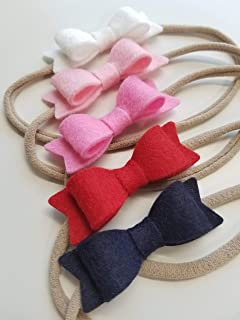 Baby Bows Nylon Headbands Navy and Pink 0-3 months baby girl clothes baby girl headbands