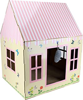Cottage Cat Scratcher House - Cardboard Box with Scratch Pad, Hanging Toy and Catnip - Best Kitty Indoor Scratching Corner with 4 Window Holes - Cozy and Stimulating Designs - 20 x 16 x 13 Inch