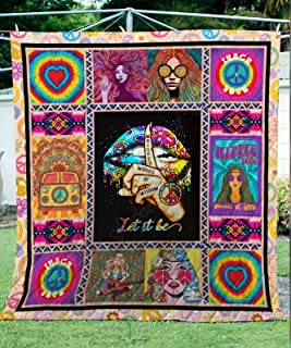Let It Be - Hippie Quilt TH648, King All-Season Quilts Comforters with Reversible Cotton King/Queen/Twin Size - Best Decorative Quilts-Unique Quilted for Gifts