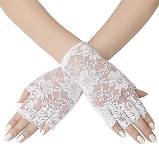 YJZQ Damen Netzhandschuhe sch/öne Brauthandschuhe Spitzenhandschuhe Elegant Hochzeit Party Abendhandschuhe mit Blumen