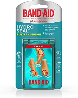 Band-Aid Brand Hydro Seal Blister Cushion Bandages, Variety Pack of Waterproof Blister Pads, 5 ct