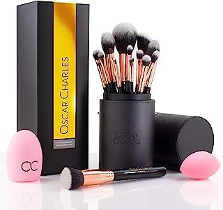 comprar comparacion Oscar Charles Juego de brochas de maquillaje profesional con mezclador de belleza y limpiador en elegante estuche de broch...