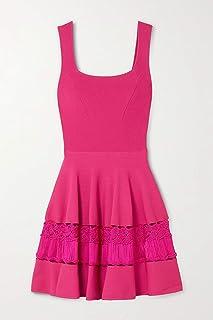 [アレキサンダー・マックイーン] [ノースリーブ ドレス レディース ミニドレス ワンピース Crochet-trimmed stretch-knit mini dress] [並行輸入品]