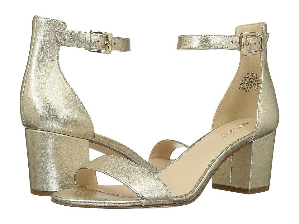 Nine West Fields Block Heel Sandal (Gold Metallic) Women