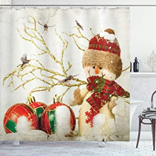 Ambesonne Christmas Shower Curtain, Snowman with Hat and Elements Colorful Jolly Holiday Theme Illustration, Cloth Fabric Bathroom Decor Set with Hooks, 70