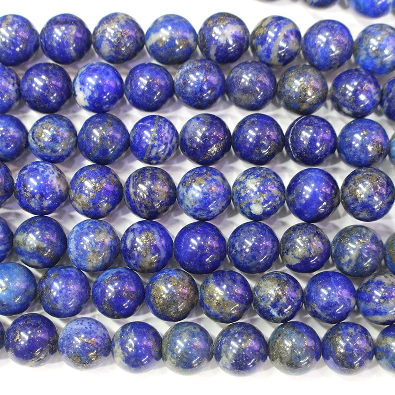 Natural Color Genuine Blue Lapis Lazuli Real Gemstone Loose Beads for Necklace Jewelry Making (round 10mm )