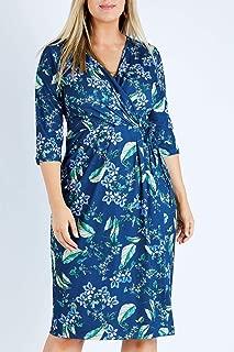 Belle Bird Womens Knee Length Dresses Belle Blue Floral Dress Bluefloral