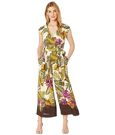 Tahari by ASL Banana Leaf Cotton Voile Cropped Jumpsuit (Vintage Palm) Women