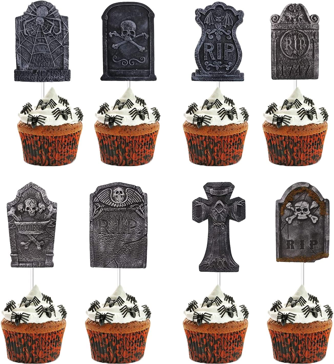 48 Pieces Tombstone Cupcake Toppers,Cupcake Toppers Halloween,Tombstone Cake Topper,Picks Graveyard Cupcake Toppers Gravestone Cake Toppers for Halloween Party Supplies