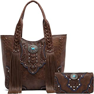 Western Style Cowgirl Fringe Concealed Purse Conchos Totes Country Women Handbag Shoulder Bags Wallet Set