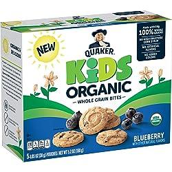 Quaker Kids Organic Whole Grain Bites, Blueberry, 1.05oz Pouches, 5 Count