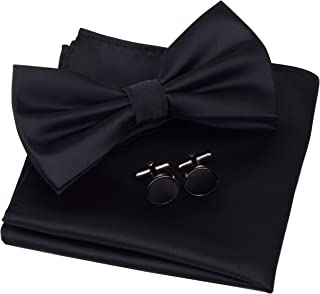 مردان جامد GUSLESON رنگ جامد دو برابر پیش کراوات کراوات و پاکت پی سی مربع جیب با جعبه هدیه