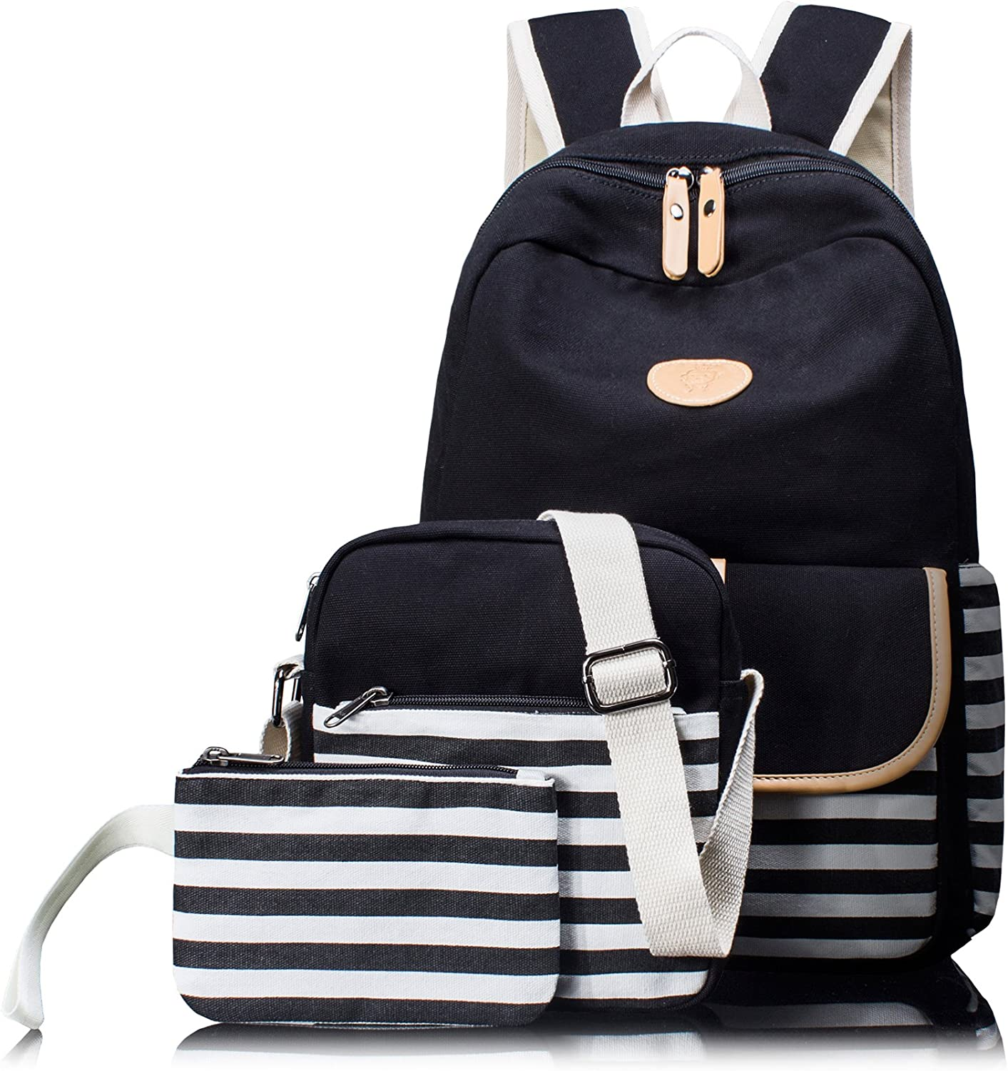 HIKKERLINK 3in1 Cute Thickened Canvas School Backpack for kids Shoulder Bag Pencil Case Black