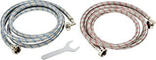 Washing Machine Hoses Stainless Steel - 90 Degree Braided Water Supply Line - Burst Proof 2 Pack - Commercial Grade Metric Fittings + Wrench for Easy Installation (8ft)