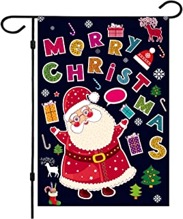 Christmas Garden Flags,Christmas Flags Double-Sided Double Thickness Christmas House Flags 12.5 x 18 Inch Burlap Santa Garden Flag for Christmas Garden and Yard Decoration