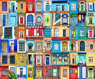 Jigsaw Puzzles 1000 Pieces for Adults Doors and Windows of World Challenging Puzzle Large Difficult Puzzles DIY Entertainm...