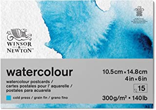 Winsor and Newton Watercolour Paper Pad, A6 (10,5 x 14.8 cm), 15 Sheets, 300 g/m², Glue Bound, Cold Pressed, Acid Free, Mi...