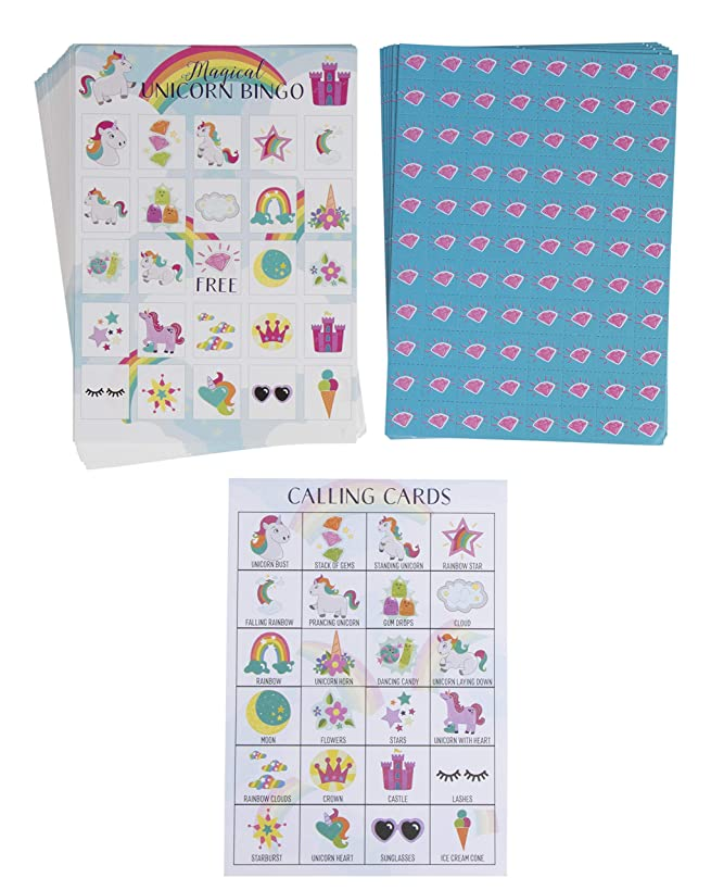 Unicorn Bingo Game Pack - 36-Set Kids Magical Themed Party Supplies Activity Kit, 2 to 36 Multi-Player Bingo, Girls Fantasy Princess Birthday Game, Party Favors, Goodie Bag Stuffers