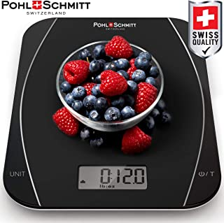 Pohl Schmitt Gourmet Deluxe Mechanical/Digital Food Kitchen Scale - Multi-functional Weight Scale for Precise Measuring with Auto Shut-Off (Batteries Included), Black