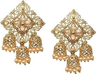 Bindhani Fashion Jewellery Ethnic Traditional Bridal Bride Wedding Bridesmaid Gold Plated Kundan Faux Diamond Stone Pearl Drop Jhumka Jhumki Indian Bollywood Earrings Jewelry For Women