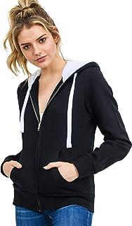 Women's Ultra Soft Fleece Midweight Casual Fur Hood Solid Zip-Up Hoodie Jacket