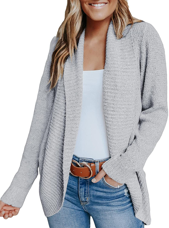 Ashuai Womens Casual Open Front Cardigan Long Sleeve Chunky Knit Loose Fit Plain Sweater Coat Outwear