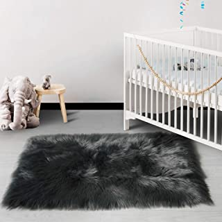 HAOCOO Faux Fur Sheepskin Rug Fuzzy Fluffy Rectangle Dark Gray Area Rugs 2'x 4'Kids Carpet for Bedroom Living Room Floor Or Across Your Armchair Sofa Couch