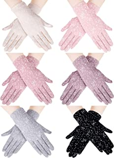 SATINIOR 6 Pairs Summer UV Protection Gloves Sunblock Gloves Touchscreen Driving Gloves Floral Non-slip Gloves for Women G...