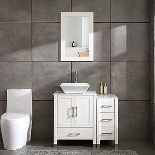Best white bathroom vanity with dark countertop Reviews